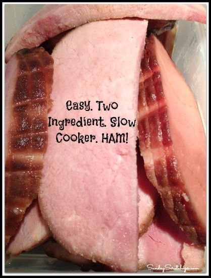 Easy two ingredient slow cooker ham -- you can't go wrong!