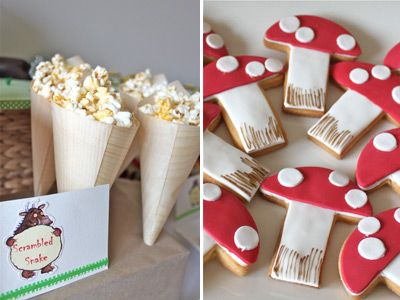 Scrambled snake popcorn. And I love the toadstool cookies!  Bondville: Party Ideas