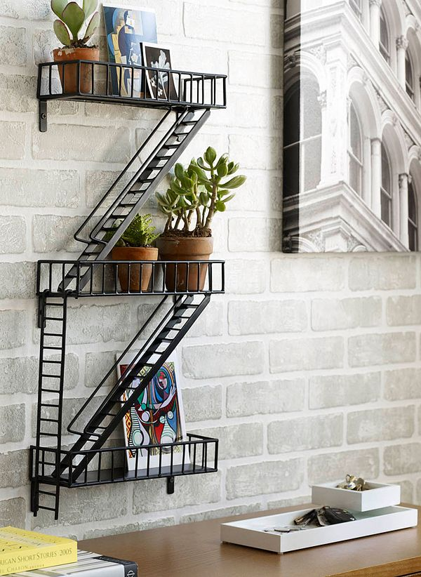 For an interior garden with a difference! Fire Escape Shelf ...and it doesn't take up any floor space!