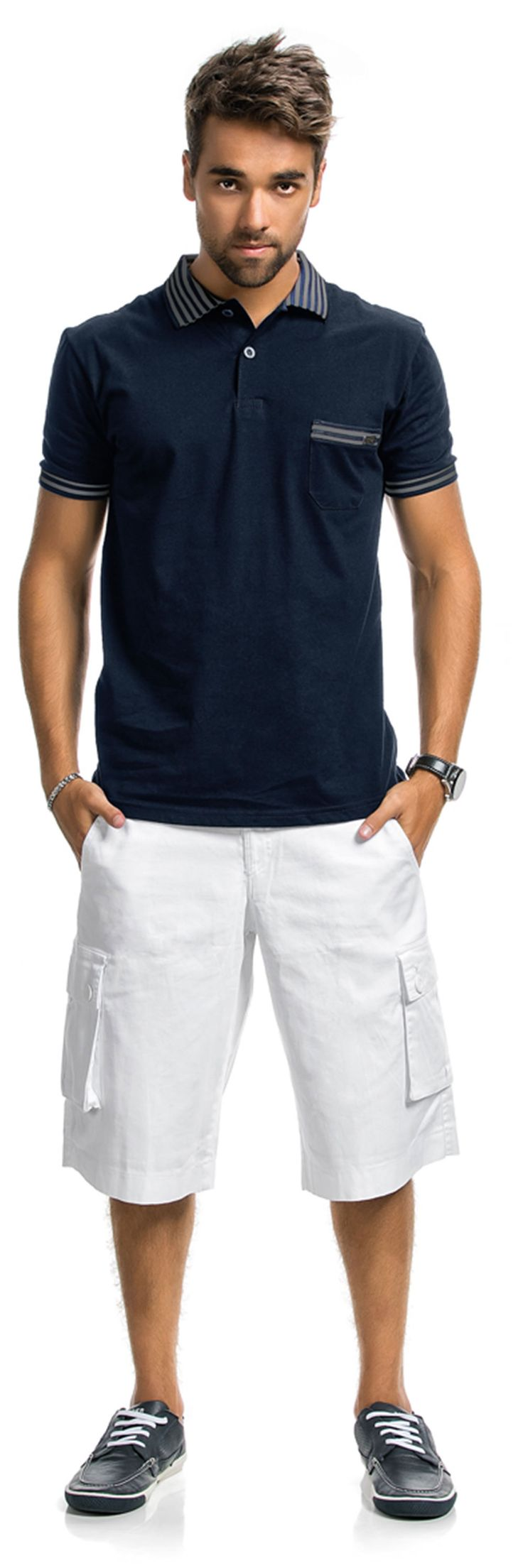 Camisa Polo Comfort Lisa de Botão com Gola Listrada e Bolso Marinho Resort $69.90 - LunenderStore.com