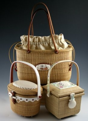 Nantucket Basket Tote, Oval Cocktail and Square Cocktail Nantucket Baskets