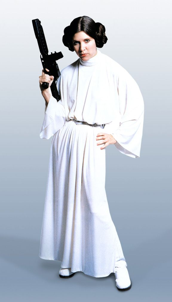 Princess Leia has much more simple dresses than Padme does but she is still pretty.