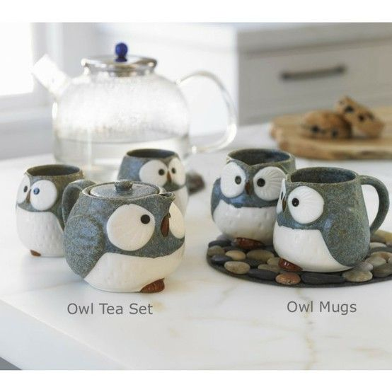 ! -- EPIC! [Click image to view more]: Tea Time, Tea Sets, Stuff, Teas, Things, Owl Mugs, Products, Owls