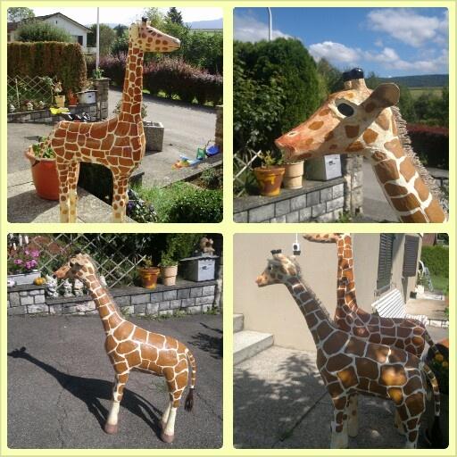 Girafes en papier mâché