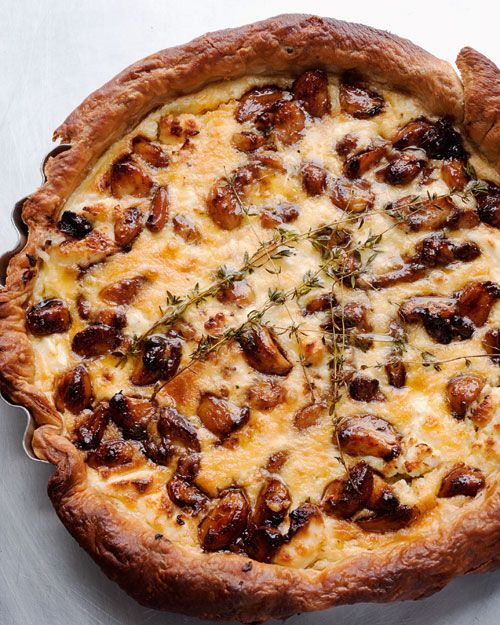 Caramelized Garlic + Goat Cheese Tart - Martha Stewart Recipes from Chef Yotam Ottolenghi