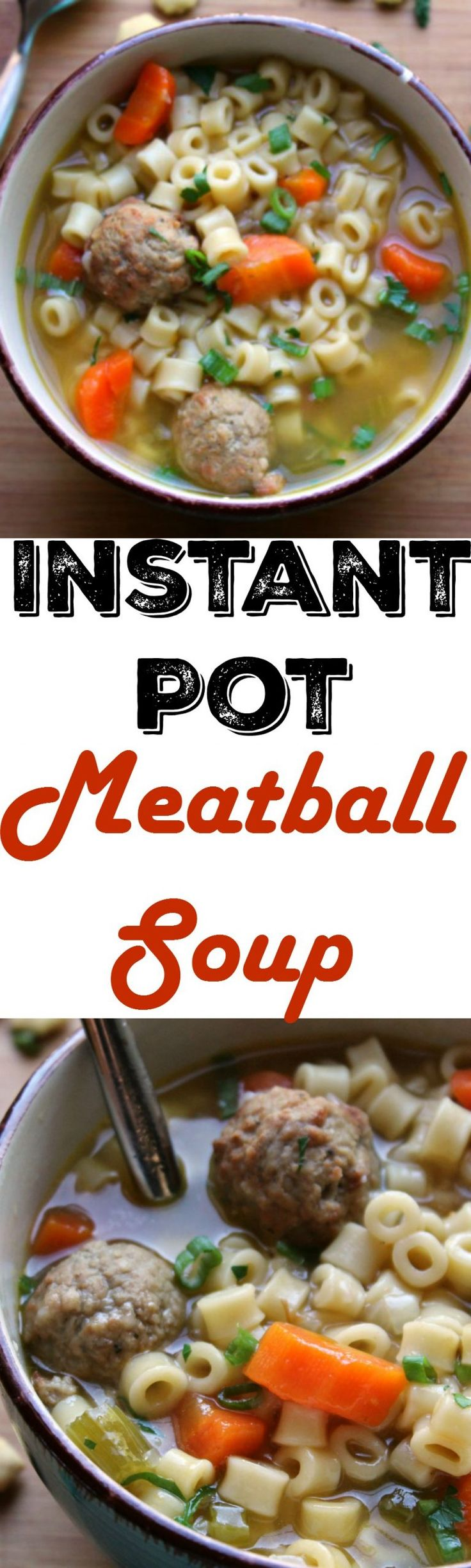 Instant Pot Meatball Soup Recipe  -  A quick and easy, family-friendly dinner option.  Thanks to frozen meatballs and the instant pot, this meal cooks up in just under 10 minutes!