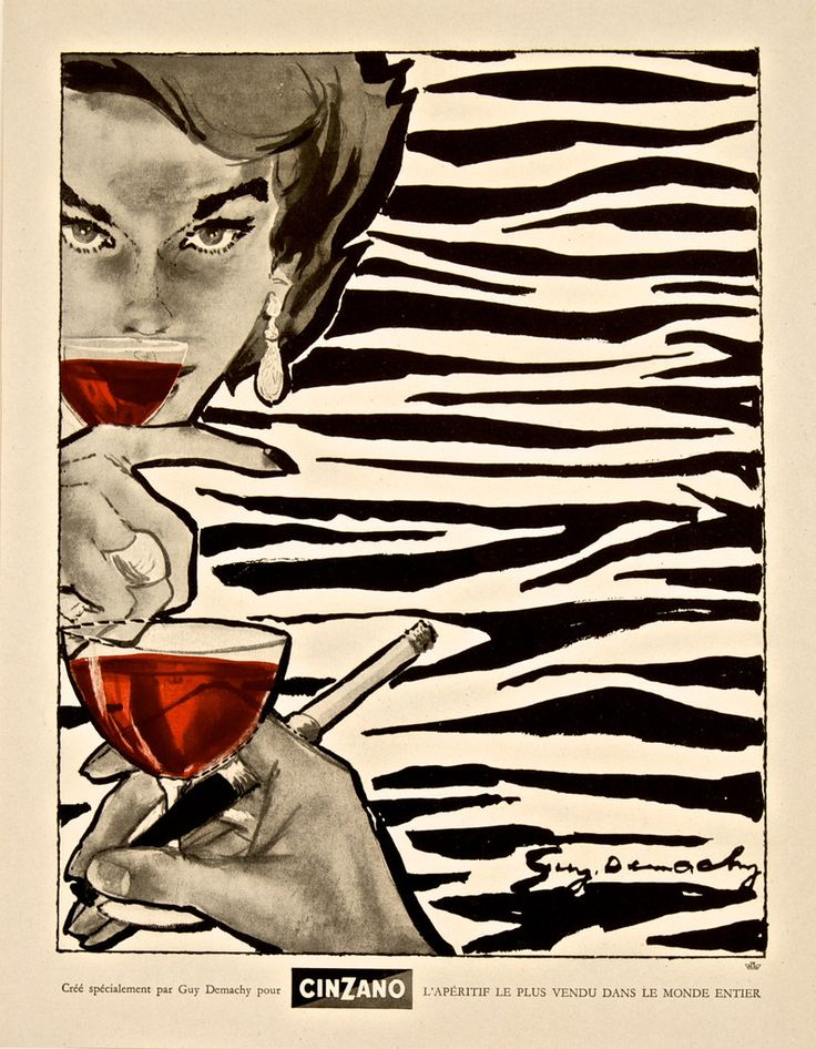 Great illustration by fashion artist Guy Demachy for Cinzano. 1948 Original Advertising Magazine Print – Rue Marcellin