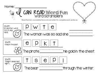 I Can Read  Grammar Fun - Word Scramblers FREEBIE!  Visit www.littlelearninglane.com for more fun ideas & FREE printables!