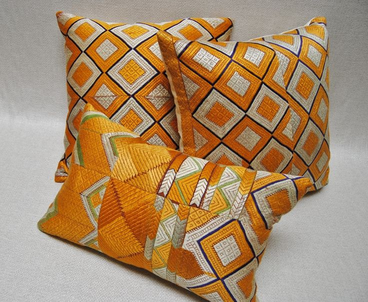 Outstanding Phulkari Bagh pillows from a vintage silk embroidered wedding shawl from Punjab, India.  Maison Suzanne Gallery
