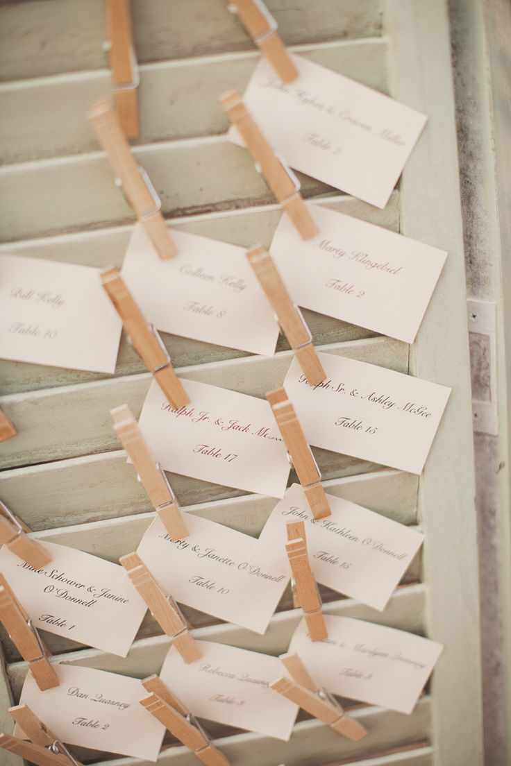 Mint shutter clothes pin place cards | Photography: Nessa K Photography - nessakblog.com  Read More: http://www.stylemepretty.com/2014/05/30/romantic-woodlawn-bed-breakfast-wedding/