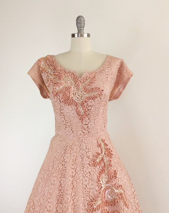 50s Pink Sequins & Lace Party Dress / 1950s Vintage Pink Prom