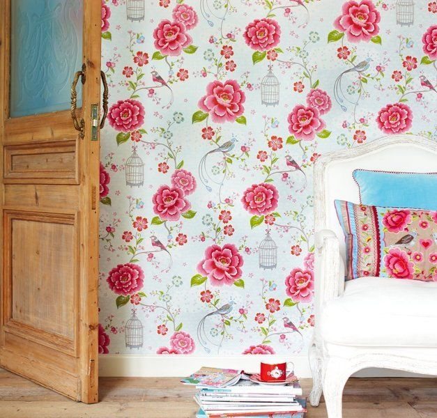 Livieu0027s Big Girl Room PiP Studio Birds In Paradise Wallpaper For Accent  Wall Behind Bed
