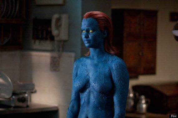 Jennifer Lawrence as Mystique | Jennifer Lawrence: Mystique Body Paint Replaced By Costume For 'X-Men ...
