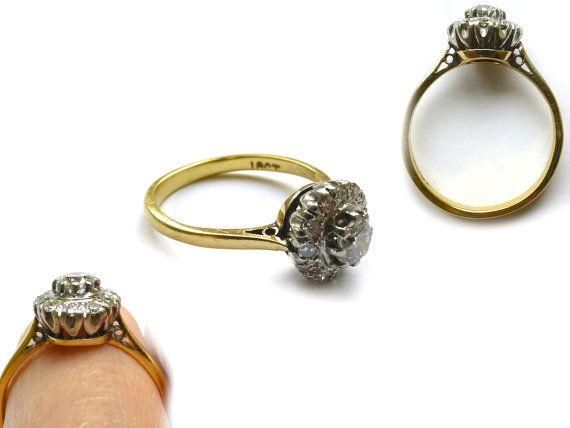 Antique engagement ring 18ct & Platinum Diamond daisy cluster Vintage wedding band 1930's