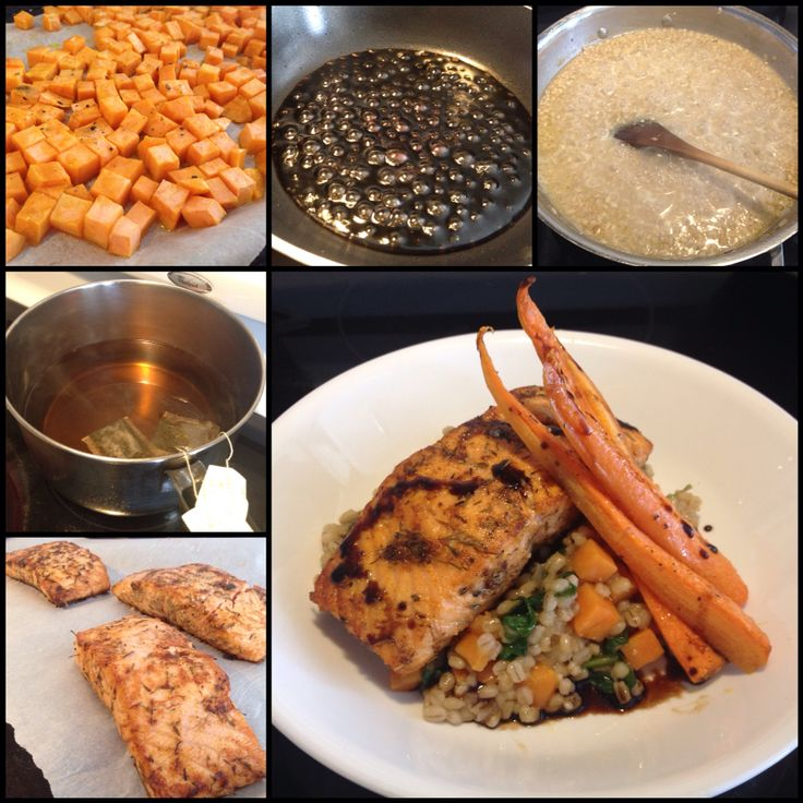 Pan Seared Atlantic Salmon, Green Tea Infused Barley with Sweet Potato, Baby Spinach, Roasted Carrot Spears & Maple Balsamic Reduction