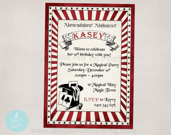 Vintage Magic  Party Invitation by InviteMe2Party on Etsy
