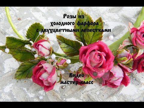 Розы из холодного фарфора с двухцветными лепестками - YouTube