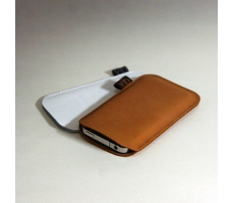 brown leather iphone sleeve