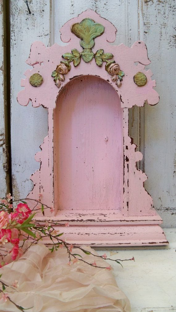 Pink display case shrine shabby chic ornate wooden distressed embellished recycled home decor anita spero