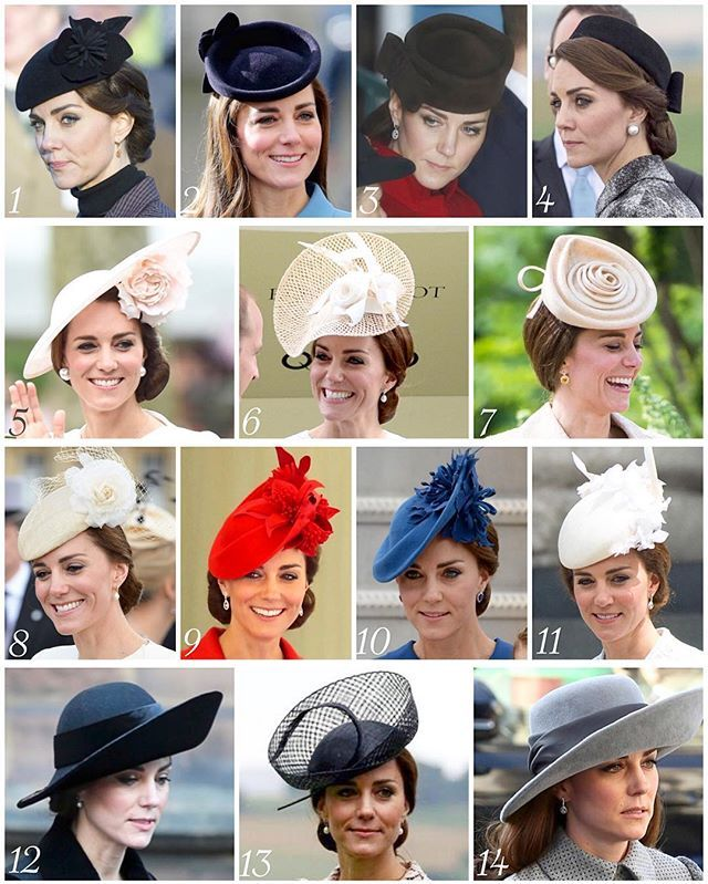 The Duchess of Cambridge's headpieces from 2016  1: Lock & Company 'Fairy Tale' hat - one of her most worn hats - worn to a war memorial service. 2: Lock & Company - worn to the 75th anniversary of the RAF cadets. 3: Lock & Company 'Betty Boop' - another of her most worn hats - worn on a visit to the RAF Valley in Anglesey. 4:  Lock & Company pillbox hat - worn for the first time in 2016 to a visit to the Thiepval Memorial to mark the centenary of the Battle of the Somme.  5: Philip Treacy…