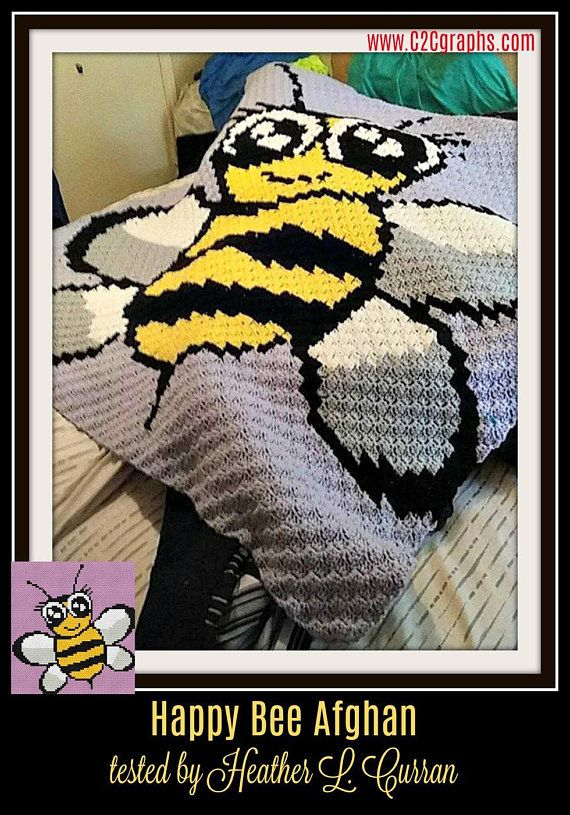 Happy Bee Kids Afghan, C2C Crochet Pattern, Written Row