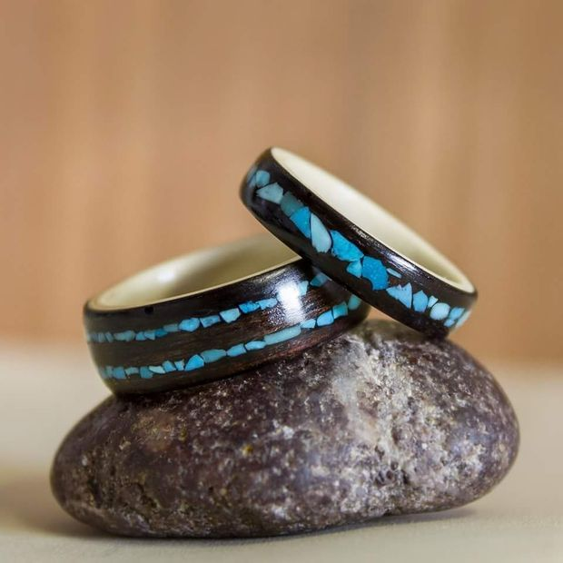 Instructable on making bent wood rings with stone inlays, they have some very nice looking results :)