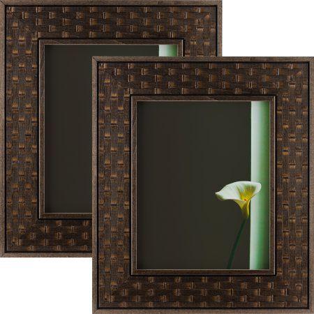 Craig Frames Russet Basket, Dark Brown Hardwood Picture Frame, 8.5x11 Inch, Set of 2