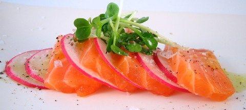 Salmon Sashimi with Radishes