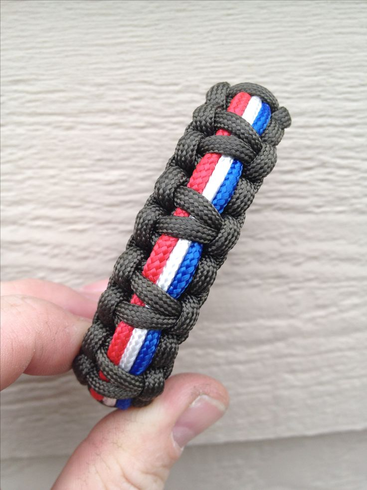 "Paracord bracelet. 550 OD Green, 325 Red, White and Blue. I call it the ""Captain America""."