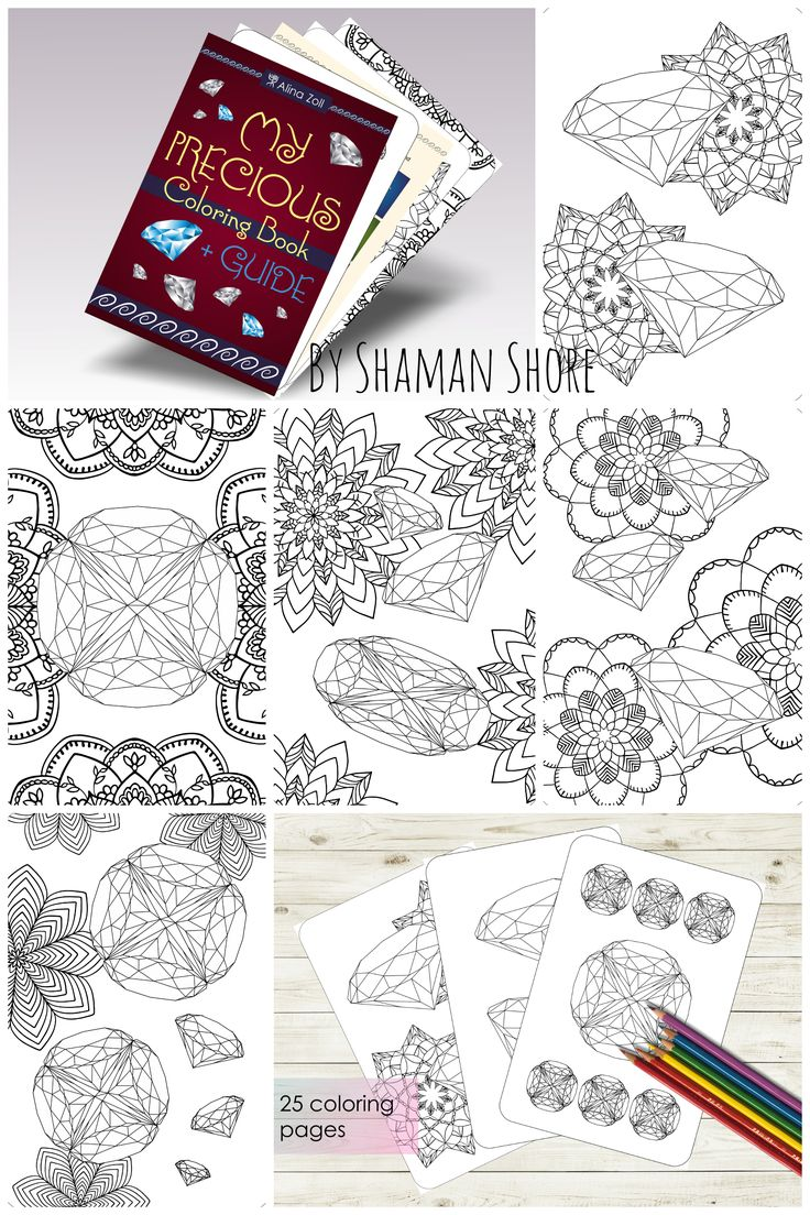 Diamond coloring book with tutorial, pdf, digital download, printable coloring pages for adults, gemstone coloring.