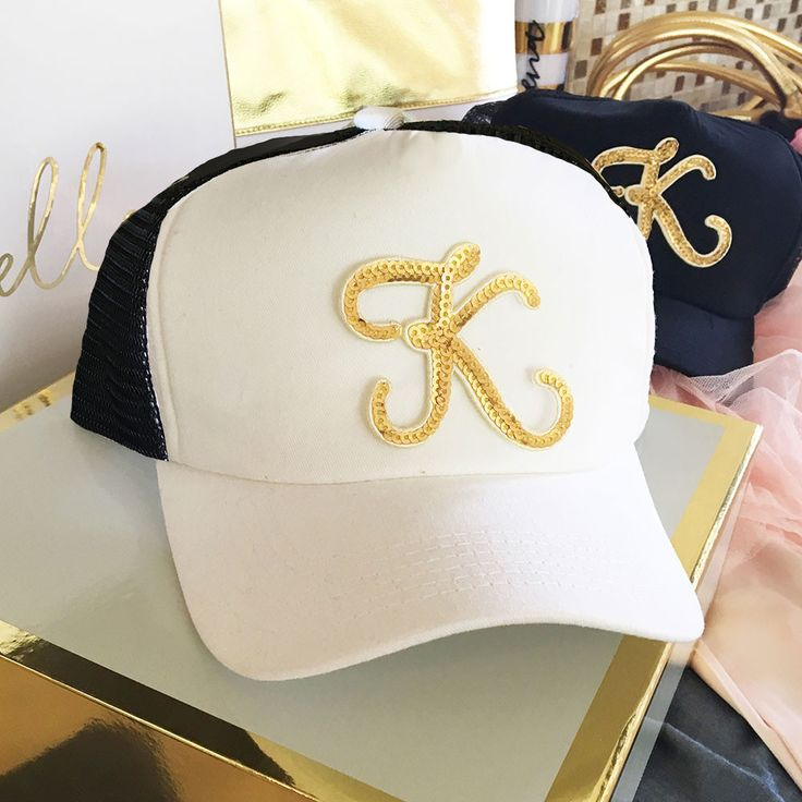 Celebrate your day..chic gold Monogram Trucker Hat..bridal party or bachelorette party stand out..black or black and white hat..gold sequin initial. This classic trucker hat style features a flat bill you can shape by hand. Back panels are in black for both the white and black hat.