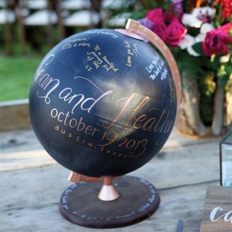 Globe Guest Book...if we can find a globe at a thrift store/garage sale/etc. this would be super easy and inexpensive to make, but it would be a beautiful keepsake!