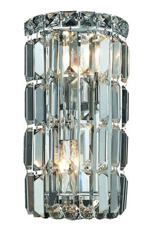 2030 Maxime Collection Wall Sconce W6in H12in E4in Lt:2 Chrome Finish (Elegant Cut. 2030 Maxime Collection Wall Sconce W6in H12in E4in Lt:2 Chrome Finish (Elegant Cut Crystals)  Watts: Lumens: Lamp Type: Shape: Style:Contemporary Light Bulbs:2 Bulb Type:E12 Bulb Wattage:40 Max Wattage:80 Voltage:110V-125V Finish:Chrome Crystal Trim:Elegant Cut Crystal Color:Crystal (Clear) Hanging Weight:7