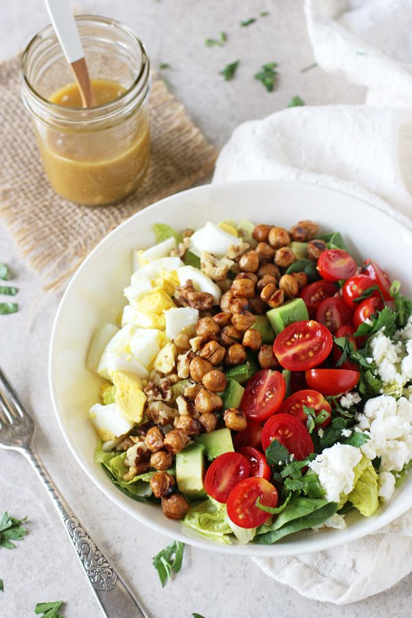 Vegetarian Cobb Salad // smoky chickpeas, honey mustard dressing, romaine, spinach, cherry tomatoes, avocado, feta, walnuts