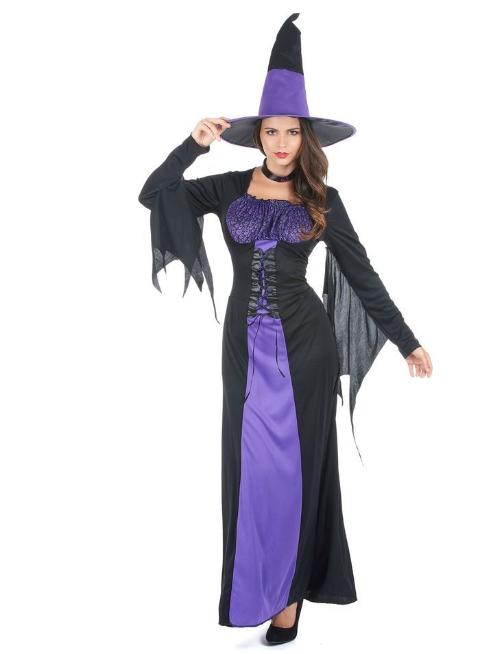Costume da strega nero e viola per donna Halloween: Questo travestimento da strega per adulto è composto da un abito, un cappello e un collarino (scopa e scarpe non incluse).L'abito è nero con effetto satinato; si allaccia sul...