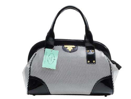 Cheap Prada Grained and Mink Leather Tote Handbag Black & White Pin It PRADA15124