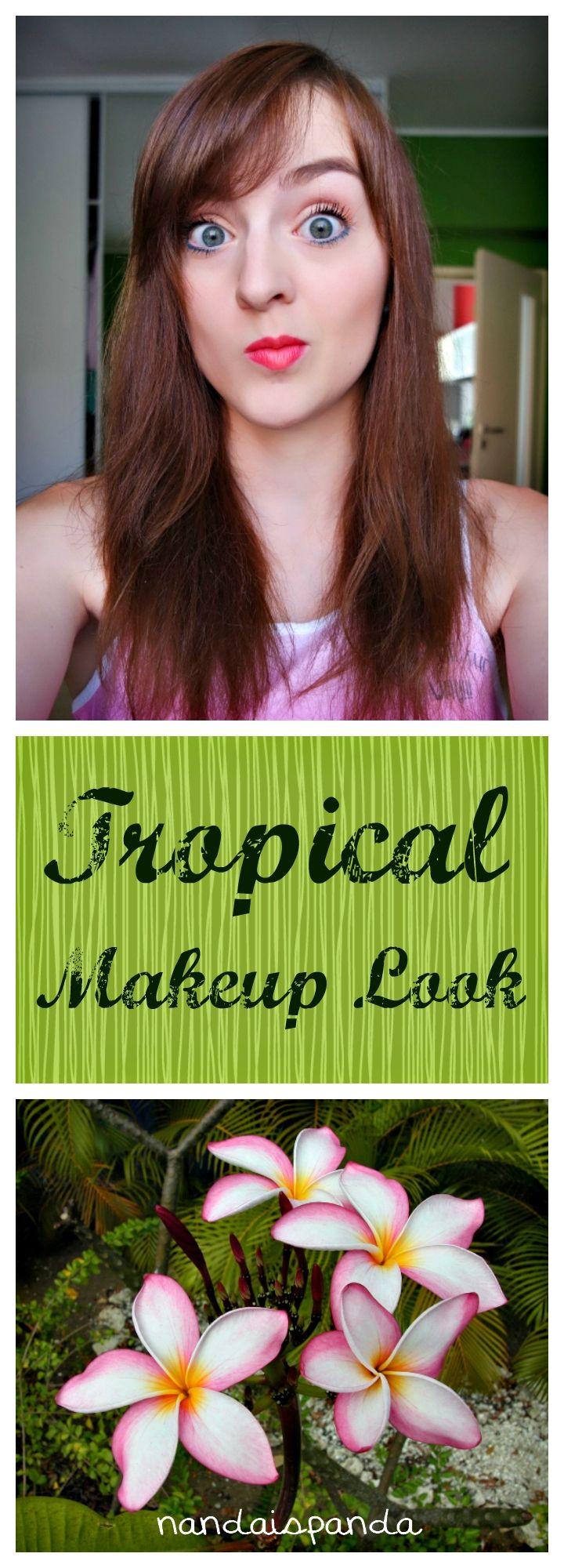 tropical, makeup look, makeup, cosmetics, makeup challenge, beauty, drugstore, budget, affordable, makeup tutorial, inspired, inspirational, idea, themed