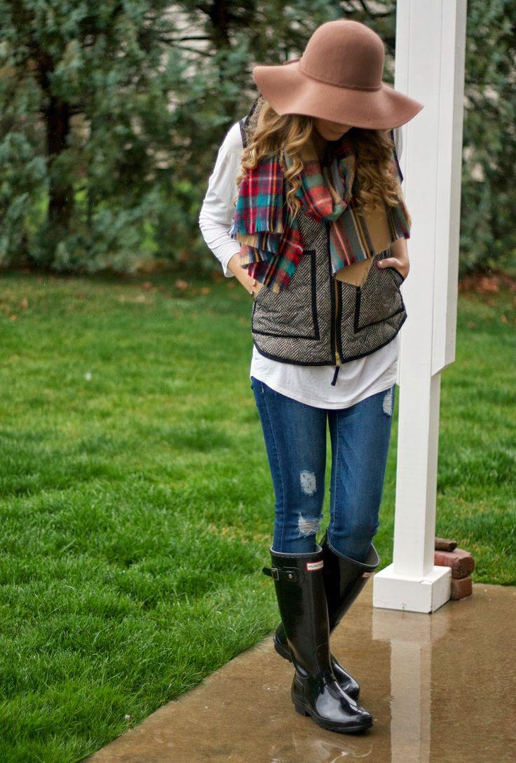Herringbone vest, plaid scarf and Hunter boots - Twenties Girl Style