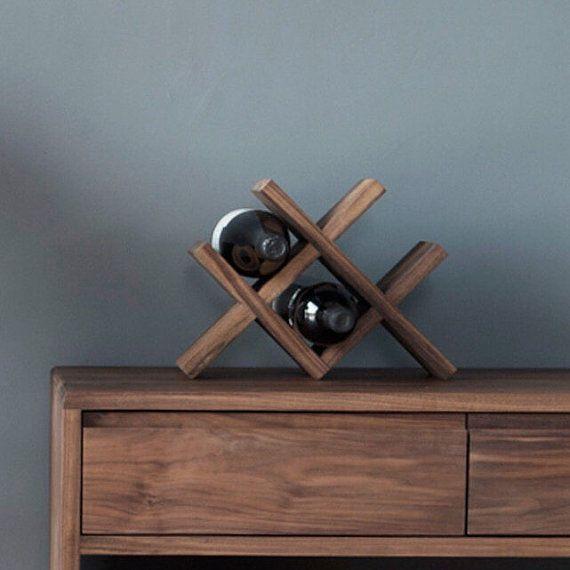 Tabletop dark walnut wine rack