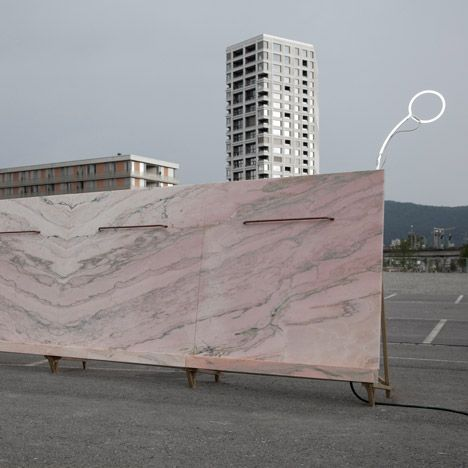 Fountain 2017 pink marble urinal in zurich airport carpark