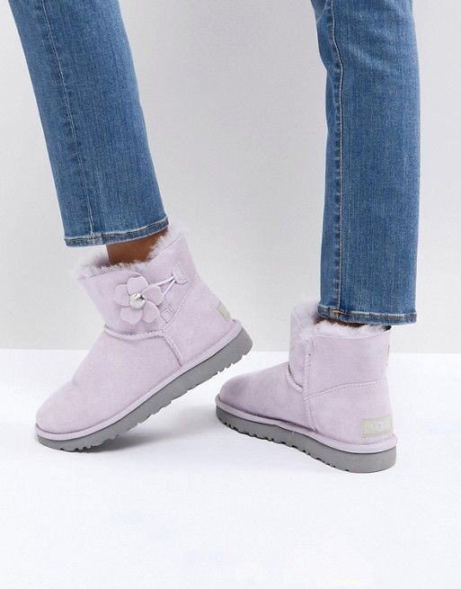 faff917830 UGG Mini Bailey Button Poppy Pink Flat Ankle Boots