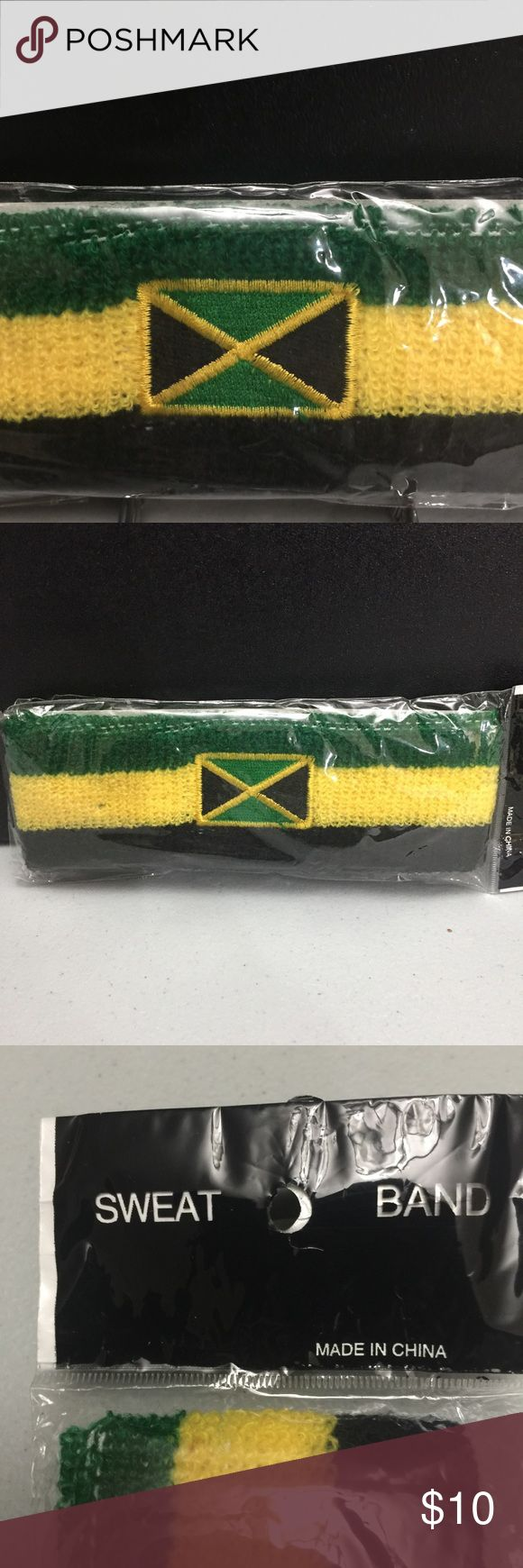 Jamaican Sweat Band Jamaican Flag Sweat Band, can be worn for fashion or to absorb your sweat from walking, jogging or any sporting activity. Stretchable fabric... one size fits most Head. New in bag. Check out other Jamaican or Rasta clothing and accessories from my closet. Share the Love ❤️ Jamaica Accessories