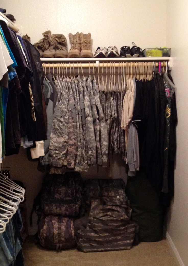 Active Duty Army ACU and gear organized..Army crap is the bane of my house's existence.