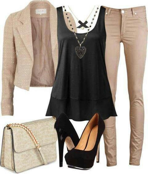 Black track beige pants and jacket