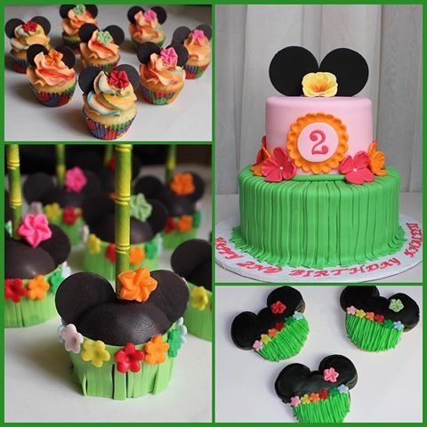 Minnie Mouse luau out themed desserts! #cake #cookies #cakepops #cupcakes. #custom #minniemousecookies #minniemouse #luau #minniemouseluau #minniemousecakepops #minniemousecake #minniemousecupcakes #hawaiian #partyideas #partyplanner #desserttable #minicupcakes #disney #disneycake