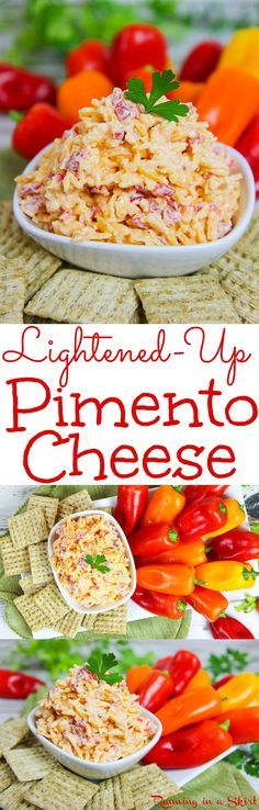The Best Lightened-Up Homemade Southern Pimento Cheese recipe.  A healthier, easy version of this spread or dip. Serve in a sandwich, on crackers or at a party!  Uses greek yogurt and includes a no mayo version. / Running in a Skirt