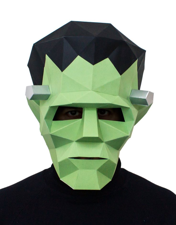 Make your own Frankenstein Mask, Printable Monster Mask, Instant Pdf download, DIY Halloween Paper Mask, 3D Pattern, Polygon Masks