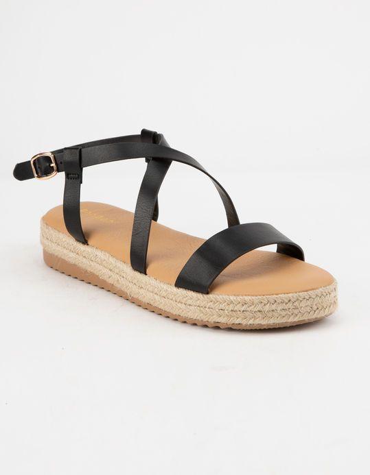 a376dd2c3c6 BAMBOO Strap Flatform Black Womens Espadrille Sandals