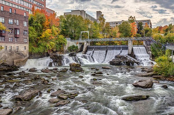 Magog river dam in downtown sherbrooke city, Eastern townships, Quebec, Canada in Autumn