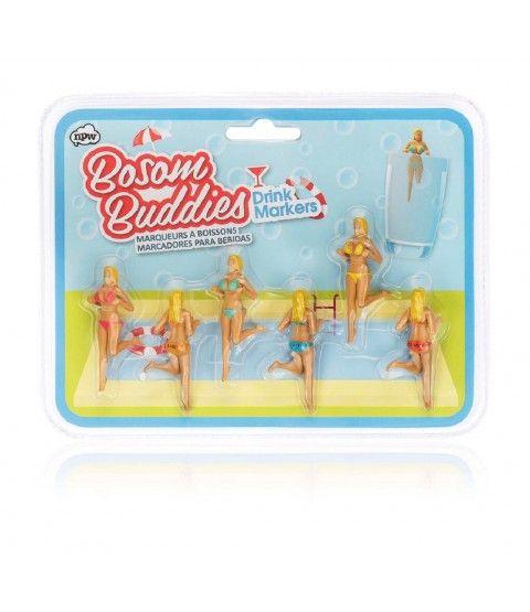 NPW Bosom Buddies 6er Set Strand Frauen Glasmarker Glasmarkierung Sommer Sonne Party  - 2-flowerpower